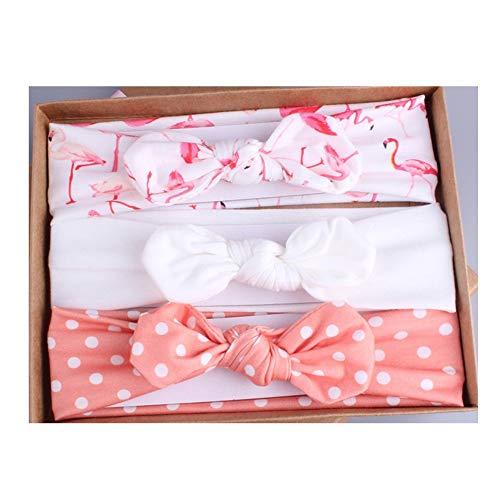 Lot de 3 bandeaux élastiques en coton pour bébé fille avec cadeau