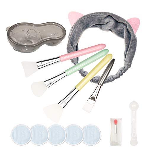 4 Stück Silikon Maskenpinsel mit Bärenschüssel, Gesichtsmaske Bürste Set Gesichtsmaske Pinsel mit Haarbänder und Lippenbürste, Kosmetik Make-up Beauty Produkte für DIY Maske, Reinigungsmaske (Schwarz)