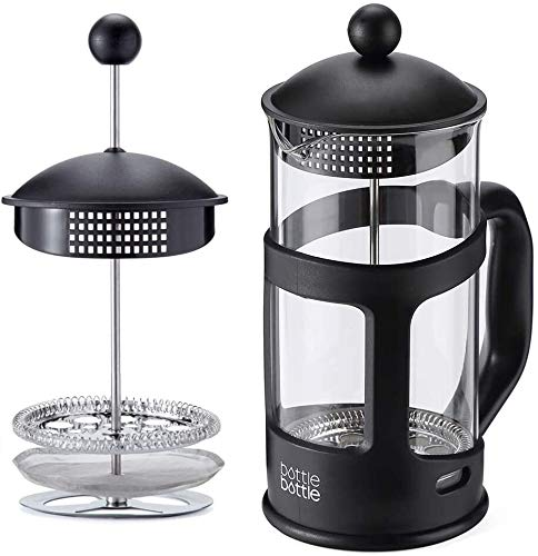Kaffeetasse Borosilicatglas Französisch Kaffeekanne Food Grade Edelstahl 304 Filter, 1000ml / 34Oz-Schwarz