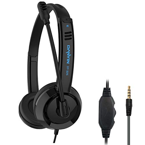 RMFC 3.5mm PC Headsets with Microphone Noise Cancelling Mic & Audio Controls for Mobile Phone Laptop PC Tablet, Wired Stereo Computer Headphone PC Headset Earphone for Office, Call Center, Online