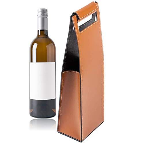DELMON VARONE - Sac à vin en Cuir de première qualité Cambridge Top Grain Brun avec poignée et verrouillable