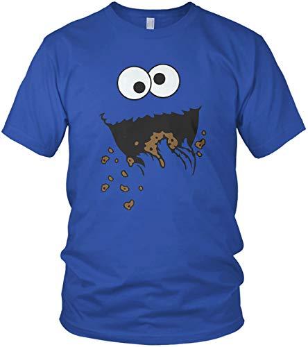Cookie Monster Keks-Monster - Karneval Fasching Kostüm - Herren T-Shirt und Männer Tshirt, Farbe:Blau, Größe:L