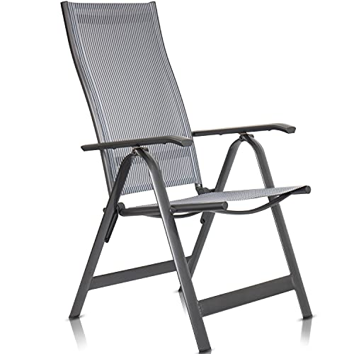 Rubberneck Aluminium Gartenstuhl 10-Stufen Hochlehner Klappstuhl, Belastbarkeit 130kg