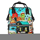 Wickeltasche Rucksack Diaper Bag Backpack Colorful Painting Room Multifunction Large Capacity Travel Back Pack Baby Nappy Bags Organizer Waterproof and Durable
