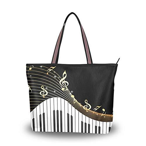 RXYY Black Musical Notes Piano Key Handbags and Purse for Women Tote Bag Large Capacity Top Handle Shopper Shoulder Bag