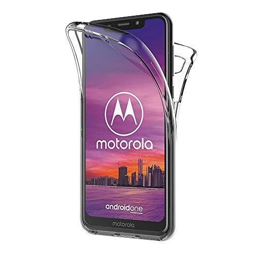 AICEK Compatible Moto One Hülle, 360°Full Body Transparent Silikon Schutzhülle für Motorola One Hülle Durchsichtige TPU Bumper Motorola Moto One Handyhülle (5,9 Zoll)