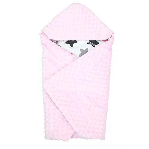 TupTam Baby Frühling-Sommer Einschlagdecke für Babyschale, Farbe: Sterne Rosa/Schwarz, Größe: ca. 75 x 75 cm