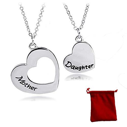 2 Piezas Collar Colgante de Mujer, Collar De Madre e Hija, Corazón Doble Con Una Bolsa de Terciopelo, Joyería El Mejor Regalo Para Mamá, Para Cumpleaños Accesorios