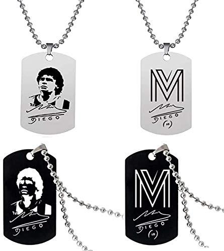 LXIN Maradona Collar Tag Accesorios de Ropa, 4 Piezas Football Star Colección de Collar con Etiqueta de Acero Inoxidable Maradona, Tributo al Gran Jugador de fútbol