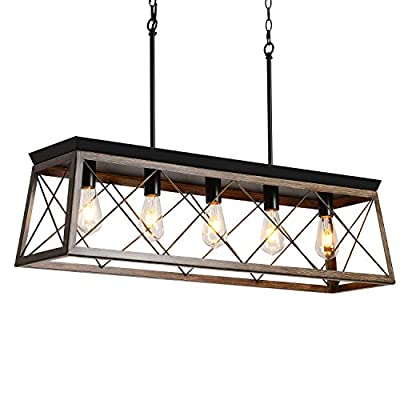 PUSU Island Lighting Farmhouse Light Fixture Industrial Chandelier with Deep Wood Metal Cage Farmhouse Dining Room Lighting fixtures Hanging for Kitchen Billiard Room and Bar