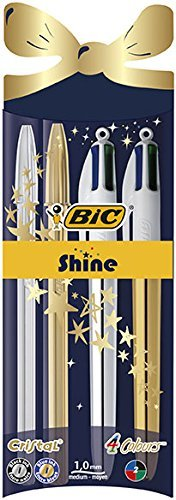 BIC Crystal Shine and BIC 4 colors Shine ballpoint pens Christmas ballpoint pens (1,0 mm) - Assorted colors, 4 Package