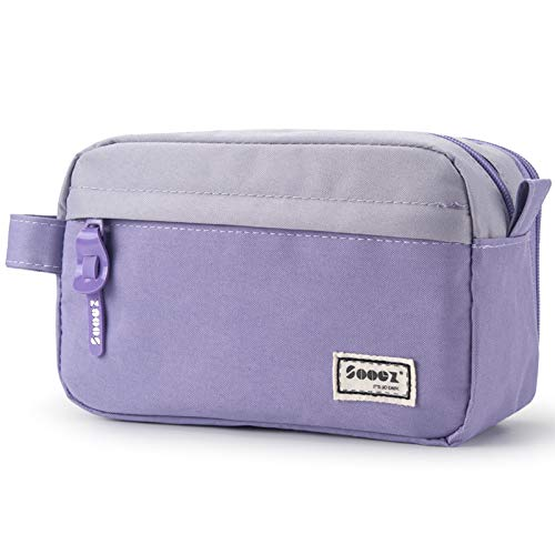 Sooez High Capacity Pen Case, Durable Pencil Bag Stationery Zipper Pouch, Portable Journaling Supplies with Easy Grip Handle & Loop, Aesthetic Supply for Adults, Purple