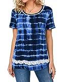 Camiseta para Mujer Top Casual de Verano Top para Mujer Camiseta de Manga Corta Camiseta de Manga Corta Camiseta Suelta Top de Verano Túnica Top de Encaje Estampada para Mujer Moda Relajada y Casual