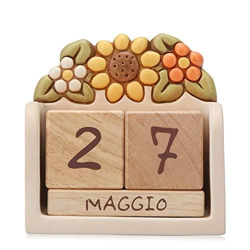THUN® - Soprammobile Calendario Perpetuo da Tavolo - Ceramica con Cubi in Legno - Linea Country