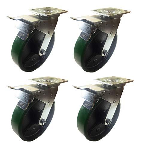 4 Caster 5' 6' 8' Polyurethane on Cast Iron Rigid & Total Lock Brake (Green) (8': 4STL)