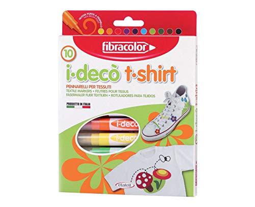 Fibracolor I-Deco' Lot de 10 marqueurs pour tissu avec pointe pinceau
