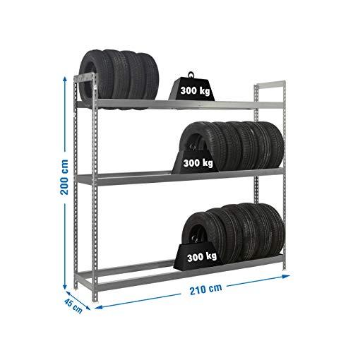 Estantería metálica para ruedas Autoforte 3 estantes Azul/Naranja Simonrack 2000x2100x450 mms - Almacén de ruedas - Estantería para ruedas - 300 Kgs de capacidad por estante