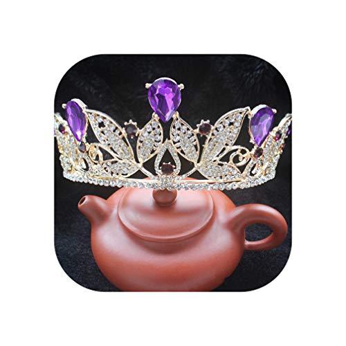 Vintage Rode Kristal Bruids Tiara Goud Strass Diadem voor Vrouwen Bruidsjurk Haar Sieraden Prinses Kroon Accessoires, Goud Blauw