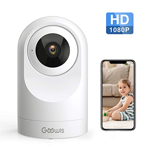 WiFi Camera Indoor, Goowls 1080P HD Home Camera Wireless Security IP Dog Camera for Baby/Pet/Nanny Monitor Pan/Tilt Night Vision Motion Detection Two-Way Audio Works with Alexa Cloud Service