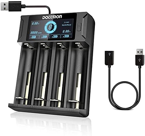 LCD Akku Ladegerät 18650 ladegerät Universal für wiederaufladbare Batterien AA AAA NiMH NiCD SC C D, Li-ion 18650 26650 26500 22650 18490 17670 17500 17355 Akkus (4-Fach)