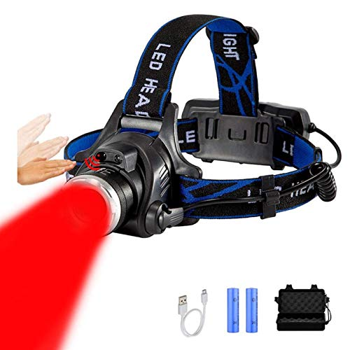 YSJJQSC Linternas Frontales Faro de luz roja 18650 USB Recargable para la Caza de la Apicultura detectando la visión Nocturna de la aviación de la astronomía (Emitting Color : Red)
