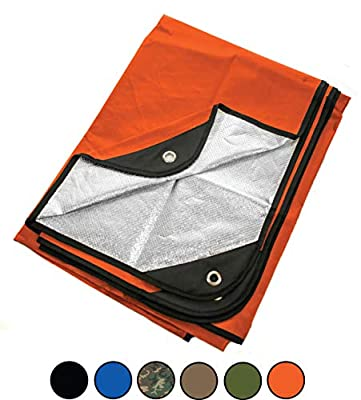 """Arcturus Heavy Duty Survival Blanket – Insulated Thermal Reflective Tarp - 60"""" x 82"""". All-Weather, Reusable Emergency Blanket for Car or Camping (Orange)"""