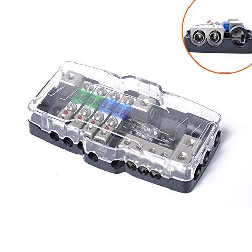 JIANGNANCHUN Car-audio-accessoires multifunctionele zekeringkast met LED-verlichting gemodificeerde audio-kabelkast zwart