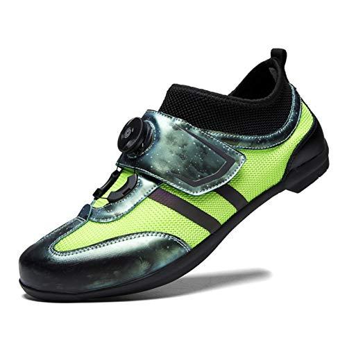 BING FENG Zapatillas de Ciclismo Zapatillas de Carreras de Bicicleta sin Bloqueo MTB Cycle Sneaker Otoño Invierno Nentry Nivel Single Shoes Zapatos de Pareja (Color : Green, Size : 36)