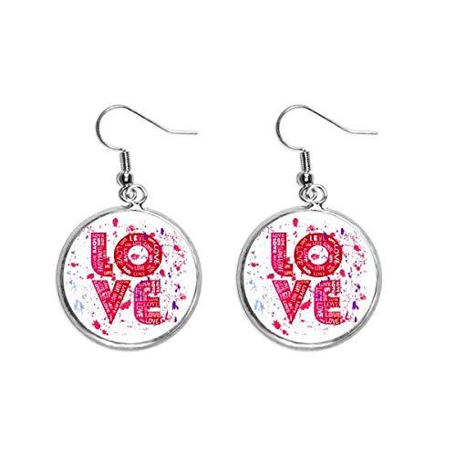Valentijnsdag Roze Liefde Schilderij Oor Dangle Zilver Drop Oorbel Sieraden Vrouw