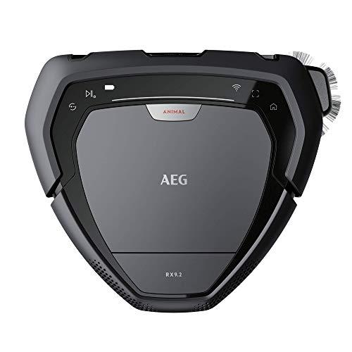 AEG RX9-2-4ANM Saugroboter (beutellos, bis zu 70 min Laufzeit, dreieckige Bauweise, Kamera- & Laser-Technologie, automatische Geschwindigkeitsanpassung, breite Bürstenrolle, 700 ml Volumen) grau - 2