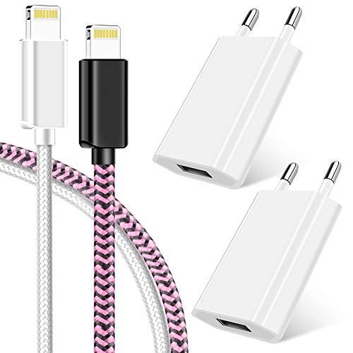 Vaseakk USB Ladegerät Ladekabel 1M für Apple Kabel schnell USB Datenkabel/Netzteil/Ladeset/Ladeadapter für iPhone XS XS Max XR X 8 8 Plus 7 7 Plus 6s 6s Plus 6 6 Plus SE 5s 5c 5 iPad - Weiß und Rosa