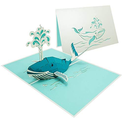 Tiere Pop Up Karte Fisch Geburtstagskarte Gutschein für Glückwunsch Geburtstag Einladung Freundschaft See Meer Ocean Maritim - Wal 187