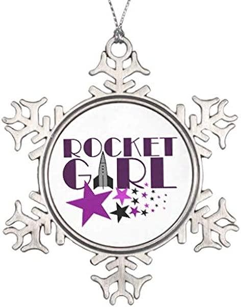 Diungfoong Rocket Girl Snowflake pawter Christmas Snowflake Ornament