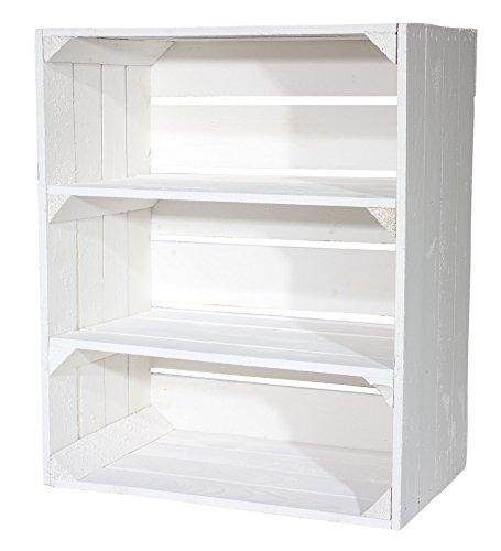 Vinterior Regalkiste hoch mit 3 Fächern Shabby Chic Serie - weiße Obstkiste Holzkiste mit Ablagefächern - Schuhregal Bücherregal Obstkistenregal extra groß - massiv neu und stabil 61x50x31cm