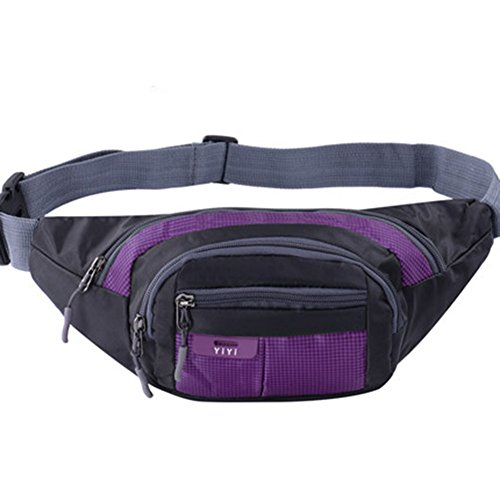 Black Temptation Outdoor Sports Sacs de Taille multifonctionnels pour la Course,la randonnée,Le Cyclisme,Le Camping, Violet 35x15cm