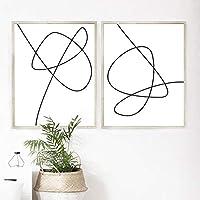 現代抽象線画アートプリントブラックホワイト写真ウォールアートキャンバス絵画スカンジナビアポスター家の装飾60x80cm(24x32in)x2フレームなし