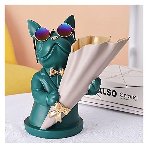 Decoración artesanal Decoración del hogar, Miniatura de estatuilla, Bulldog francés, Escultura, Jarrón de flores de escritorio, Decoración de mesa, Moderno, Sala, Estatua decorativa ( Color : 2 )
