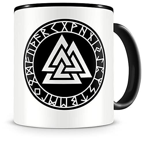 Samunshi® Valknut con runas 2 tazas, taza de café, taza de té vikingo Alemania (300 ml Valknut con runas 2 300 ml), color negro