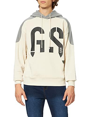 G-STAR RAW 89 Logo Block Hooded Sudadera con Capucha, Beige/Caqui (Whitebait A613-1603), XXL para Hombre