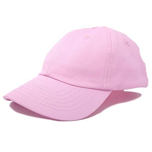 DALIX Unisex Youth Childrens Cotton Cap Adjustable Plain Hat - Unstructured (Pink)