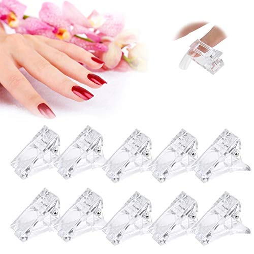 Ealicere 10 pieces of transparent nail clip manicure tools, Plastic Transparent Nail clips for polygel Finger Nail Extension, Reusable Assitant Nail Clip Tool Manicure DIY Equipment.
