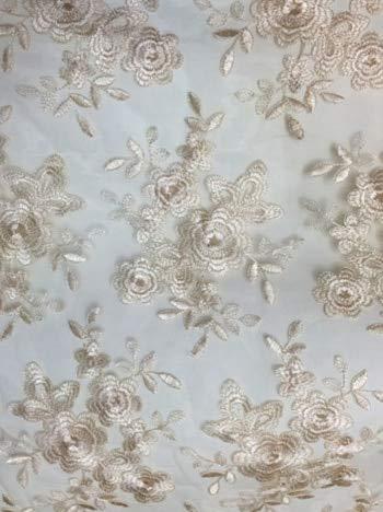 Astonish 18 Farben Optional Französisch-Spitze-Gewebe-Qualitäts-Tulle gestickte Blumen-Transparent-Netz-Spitze Stoff für Hochzeit RS1017: 8 Champagne Farbe