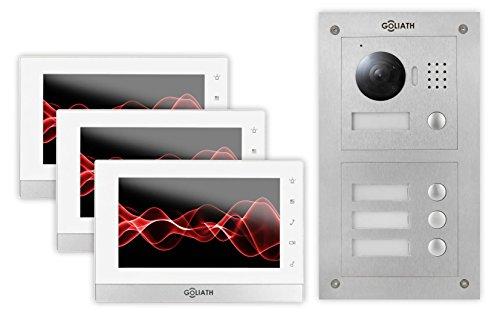 GOLIATH IP Video-Türsprechanlage 3 Familienhaus, Unterputz Türstation, Edelstahl, HD Kamera, App mit Türöffner-Funktion, Nachtsicht, Video-Speicher, Set, AV-VTC51