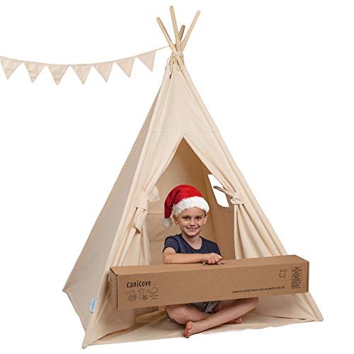 Canicove Teepee Tent for Kids - Award Winning 100% Cotton Play Tent - Large Indoor/Outdoor Tipi for...