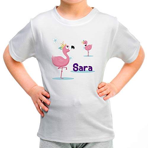 Camiseta Flamenco Personalizada con Nombre/Texto. Regalos Infantiles Personalizados. Varios Diseños y Colores a Elegir. 100% Algodón. Flamenco