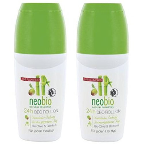 neobio 24h Deo-Roll-On Olive Bambus 2er-Pack (2x 50ml) (bio, vegan, Naturkosmetik) Deodorant Roller x2