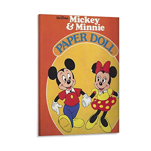 Mickey Mouse Minnie Holding Hands Cartoon Art Poster Wall Art Posters, Modern Family Bedroom Decor Posters 20x30inch(50x75cm) Original Abstract Painting on Canvas,