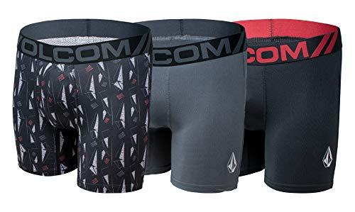 Volcom Mens Mesh Boxer Briefs 3 Pack Poly Spandex Performance Boxer Briefs Underwear
