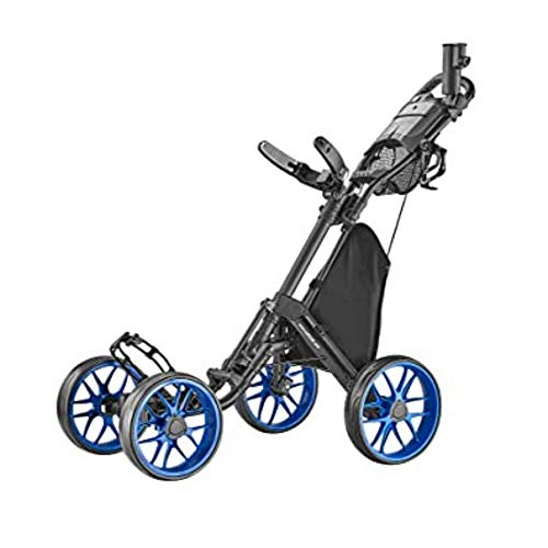CaddyTek Caddycruiser One Version 8 - One-Click Folding 4 Wheel Golf Push Cart, Blue