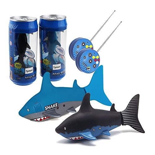 Tipmant Mini RC Fish Electronic Shark Radio Remote Control Boat Ships & Submarine Swim in Water Pool Bathtub Kids Electric Toy (Black & Blue)